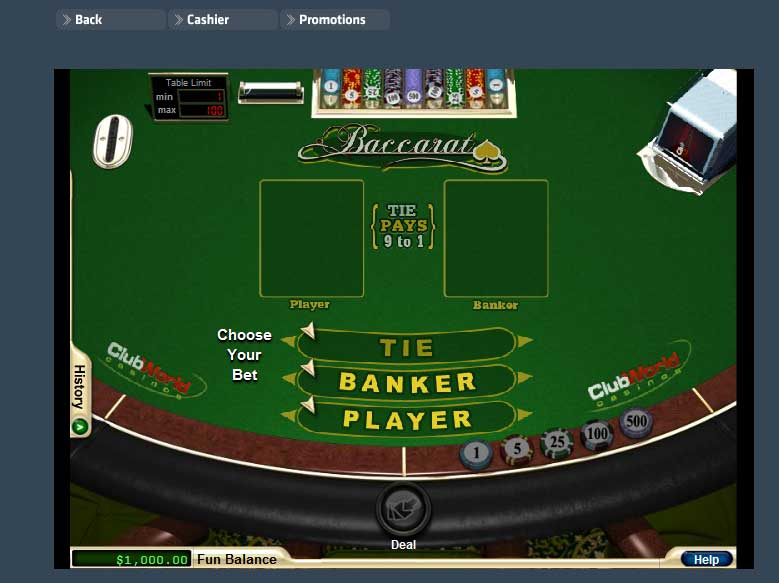 Club World Casino Baccarat Screenshot