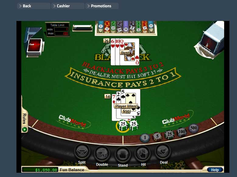 Club World Casino Blackjack Screenshot