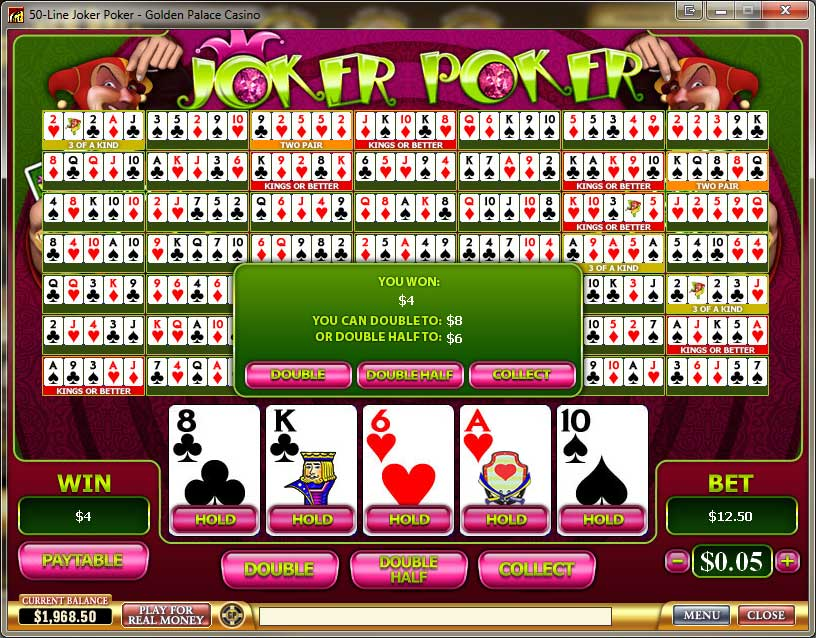 Golden Palace Casino Video Poker