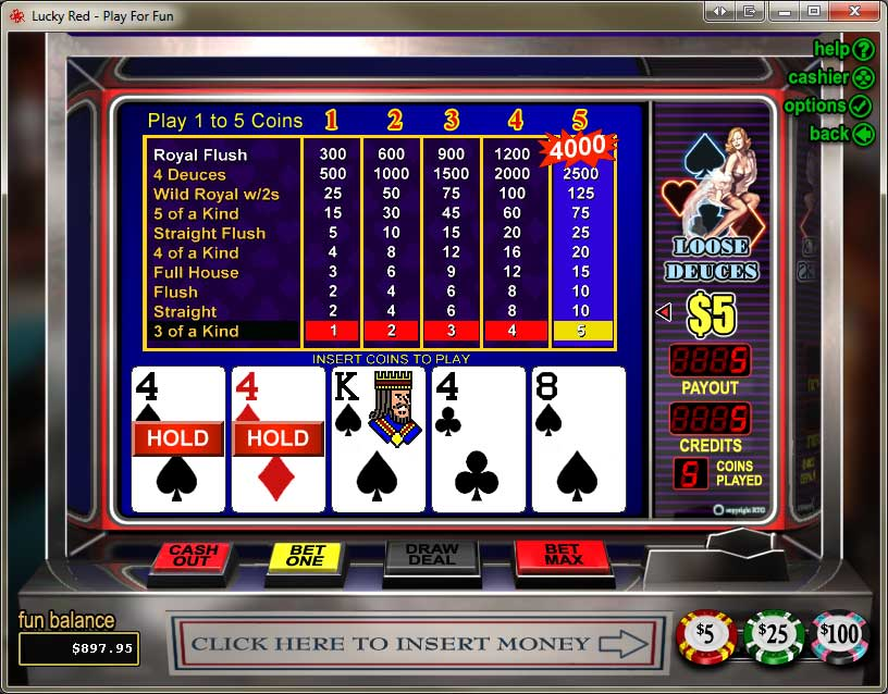Lucky Red Casino Video Poker Screenshot