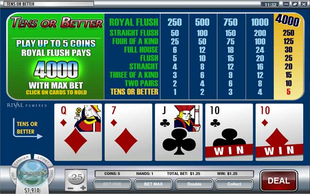 Paradise 8 Video Poker Screenshot