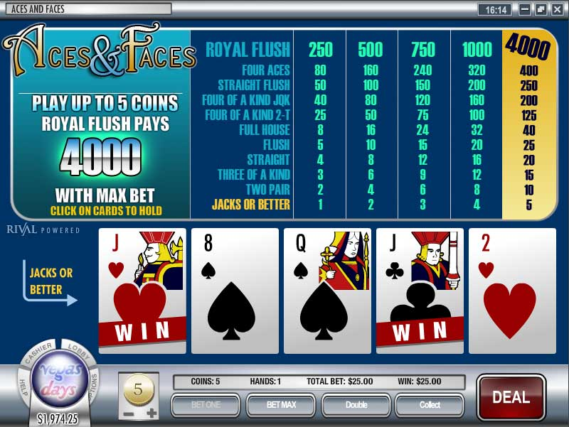 Rockbet Casino Video Poker Screenshot