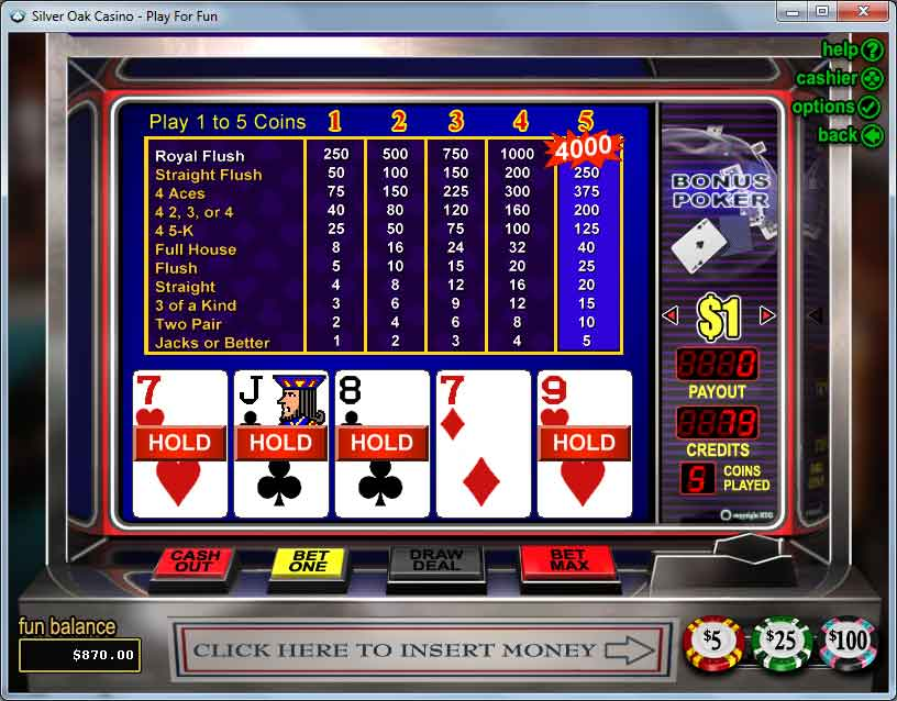 Silver Oak Video Poker